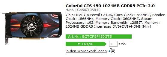 Colorful GeForce GTS450