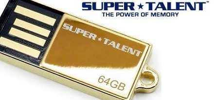 Nuevo Flash Drive de 64GB chapado en Oro de 24K de Super Talent