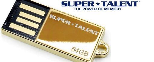 Nuevo Flash Drive de 64GB chapado en Oro de 24K de Super Talent