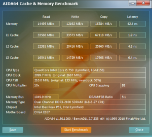 Aida64 2100 MHz CAS 8