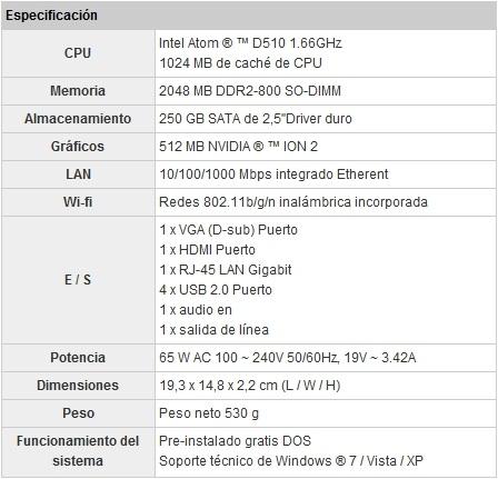 EspecificacionesSapphire HD-EDGE mini PC