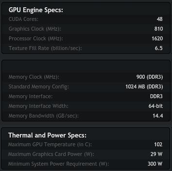 Especificaciones GeForce GT 520 de Nvidia