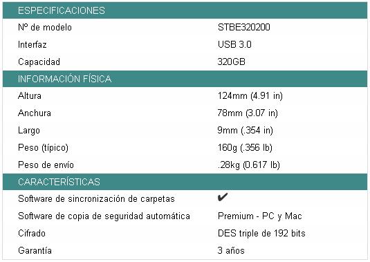 Especificaciones disco duro externo GoFlex Slim de Seagate