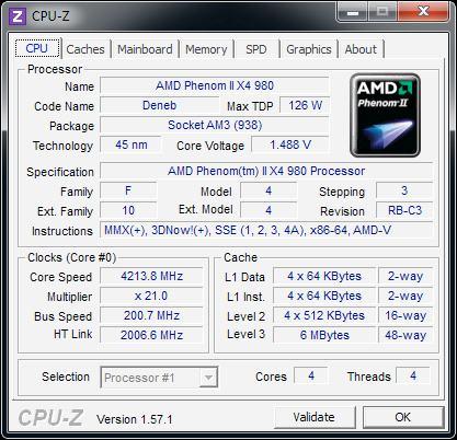 CPU-Z AMD Phenom I I X4 980