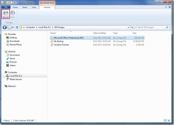 Montar una imagen ISO en Windows 8