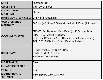 Especificaciones case Phantom 410 de NZXT