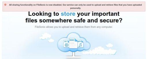 FileSonic ya no permite compartir archivos