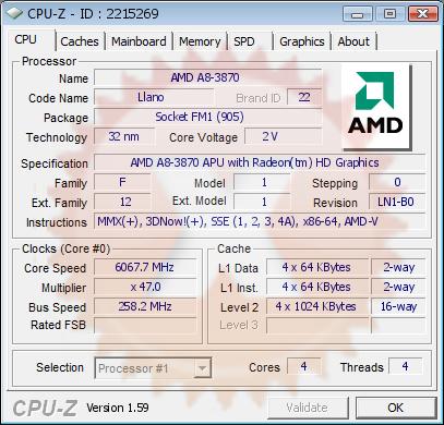 CPUZ - AMD Llano A8 3870K @ 6067MHz