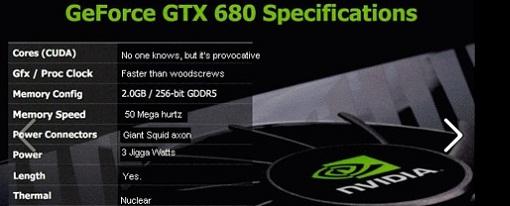 [Humor] Especificaciones de la GeForce GTX 680
