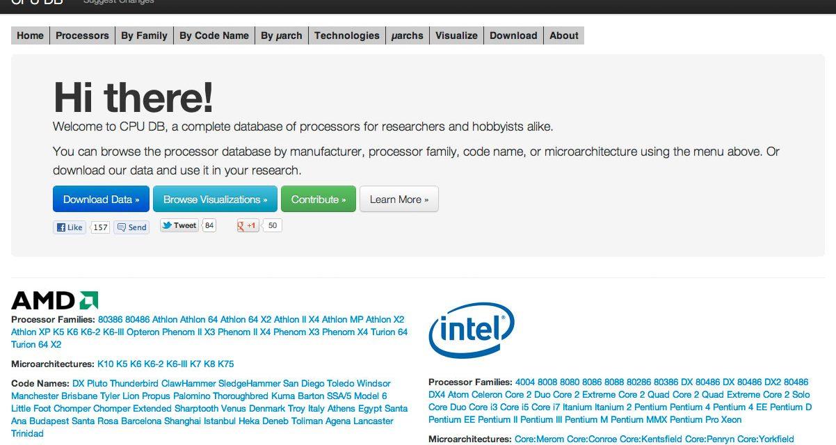 CPU DB: Info de todos los CPU disponibles