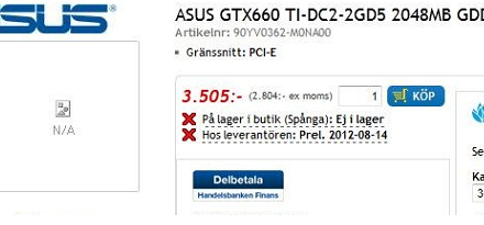 La Asus GeForce GTX 660 Ti DirectCU II 2GB ya esta disponible en pre-orden