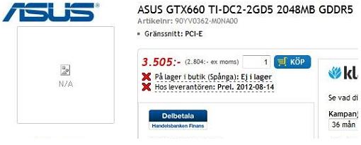 La Asus GeForce GTX 660 Ti DirectCU II 2GB ya esta disponible en pre-orden