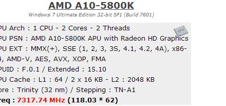 Logran llevar mediante overclock una APU A10-5800K hasta los 7.30 GHz