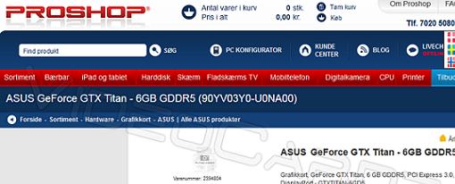 Listada una tarjeta de vídeo Asus GeForce GTX Titan 6 GB