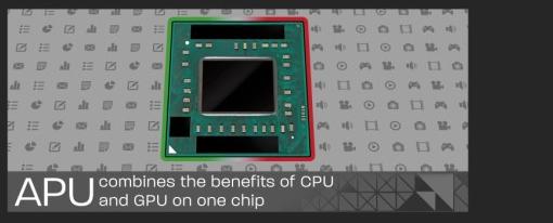 Infografía de la historia y evolución de las APUs de AMD