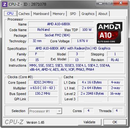 CPU-Z AMD A10-6800K OC @ 8.2 GHz