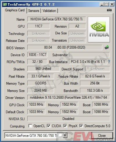 CPUZ - Nvidia GeForce GTX 750 Ti