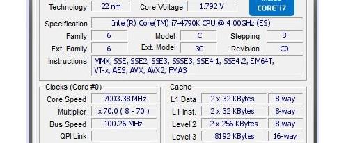 Llevan un Core i7-4790K con overclock hasta los 7003.38 MHz