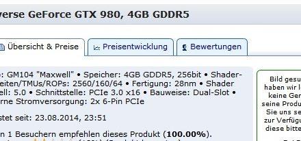 Una página web austríaca ratifica las especificaciones de la GeForce GTX 980