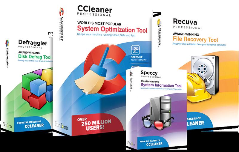 Productos Piriform CCleaner Defraggler Speccy Recuva