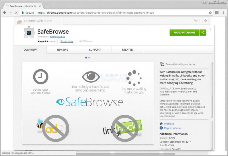 SafeBrowse es la primera extensión para Chrome con minero integrado