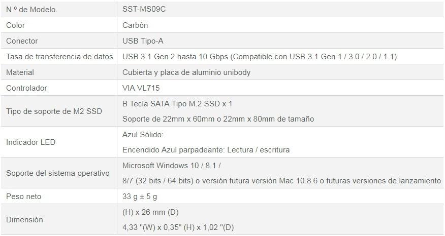 MS09 de SilverStone - Especificaciones